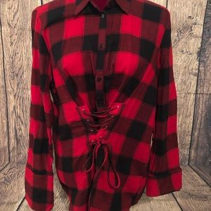 Tops - 🎈RED/BLK FLANNEL SHIRT LIKE NEW